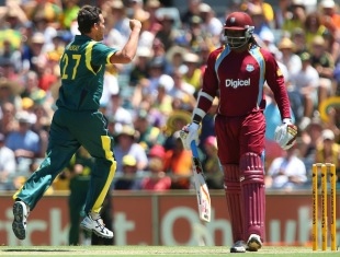 Clint McKay removed Chris Gayle early, Australia v West Indies, 1st ODI, Perth, February 1, 2013