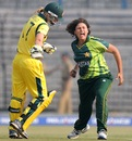 Sumaiya Siddiqi erupts after picking up the wicket of Meg Lanning, Australia v Pakistan. Women's World Cup 2013, Group B, Cuttack, February 1, 2013