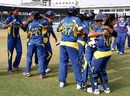 Sri Lankan players celebrate after their one-wicket victory, England v Sri Lanka, Women's World Cup 2013, Group A, Mumbai, February 1, 2013