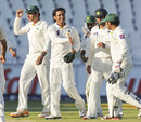 Mohammad Hafeez takes the plaudits from his team-mates