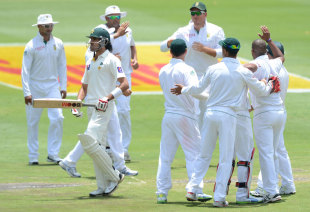 Umar Gul walks off after becoming the seventh wicket to fall, South Africa v Pakistan, 1st Test, Johannesburg, 2nd day, February 2, 2013