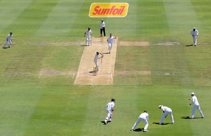 During the modern collapse, each batsman takes guard as he always does, pokes at the pitch, leaves a couple, and then, bizarrely, starts shaping to play shots