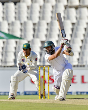 Hashim Amla drives on his way to a fifty, South Africa v Pakistan, 1st Test, Johannesburg, 2nd day, February 2, 2013