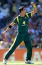 Mitchell Starc reacts after dismissing Ramnaresh Sarwan