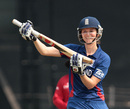 Charlotte Edwards reacts after reaching her century, India v England, Women's World Cup 2013, Group A, Mumbai, February 3, 2013