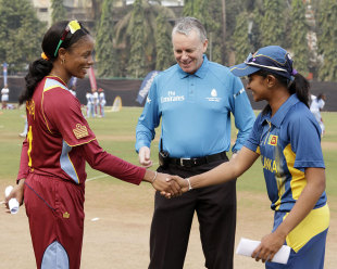 West Indies' Merissa Aguilleira and Sri Lanka's  Shashikala Siriwardene ahead of their World Cup match, West Indies v Sri Lanka, Women's World Cup 2013, Mumbai, February 3, 2013