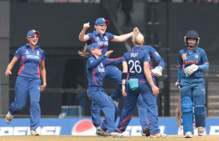 Katherine Brunt celebrates taking the wicket of Mithali Raj, India v England, Women's World Cup 2013, Group A, Mumbai, February 3, 2013