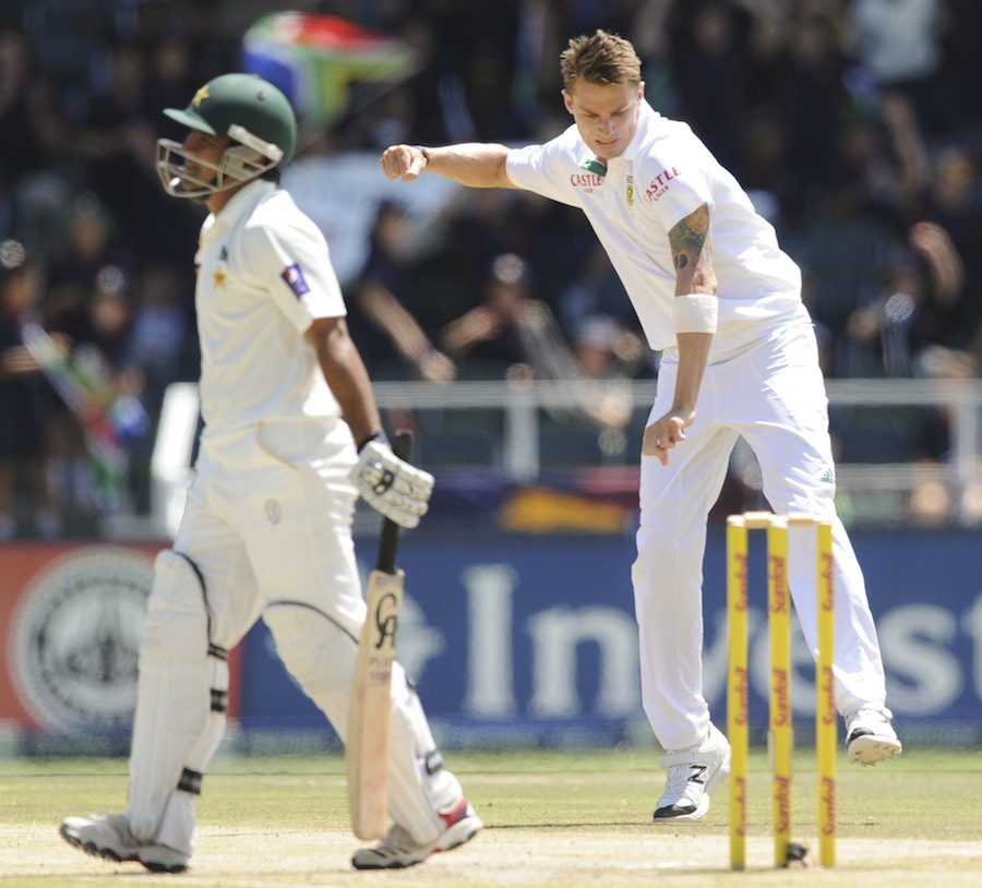 Asad Shafiq walks back after edging to keeper off Dale Steyn