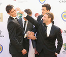 Phillip Hughes, Pat Cummins and Mitchell Starc at the Allan Border Medal awards ceremony, Melbourne, February 4, 2013
