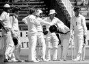 England players gather round Iqbal Qasim after he was struck by a Bob Willis bouncer, England v Pakistan, 1st Test, Leeds, June 6, 1978