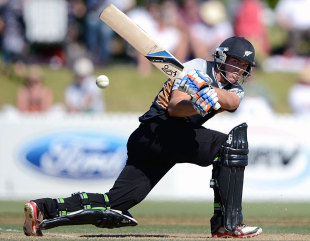 New Zealand XI's Tom Latham plays a sweep shot against England XI, New Zealand XI v England XI, T20 Tour match, Whangarei, February 6, 2013