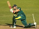 George Bailey hits the ball towards deep midwicket, Australia v West Indies, 3rd ODI, Canberra, February 6, 2013