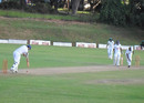 Peter Burgoyne survived 78 balls for his unbeaten 18, Mountaineers v Southern Rocks, Logan Cup, Mutare, 2nd day, February 6, 2013