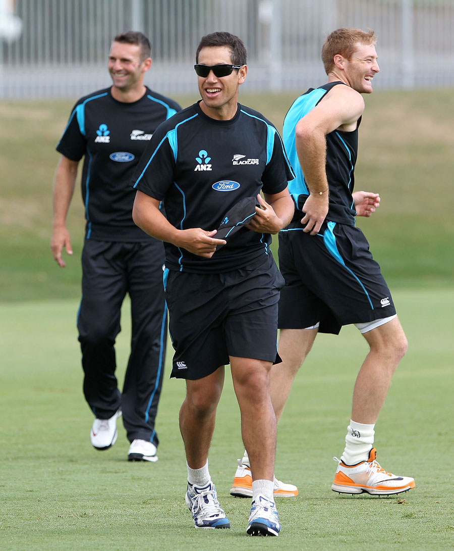 Ross Taylor trains with the New Zealand team