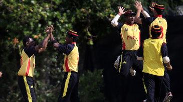 Papua New Guinea celebrate a wicket
