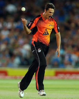 Nathan Coulter-Nile celebrates a wicket, Adelaide Strikers v Perth Scorchers, Big Bash League 2012-13, Adelaide, January 10, 2013