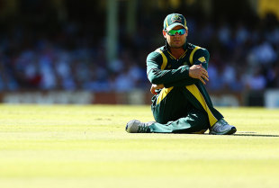 Michael Clarke stretches, Australia v West Indies, 4th ODI, Sydney, February 8, 2013