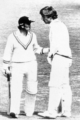 Ian Botham apologises to Bob Taylor after running him out, New Zealand v England, 2nd Test, Christchurch, February 25, 1978