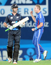 Stuart Broad celebrates snaring James Franklin, New Zealand v England, 1st T20, Auckland, February 9, 2013