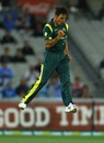 Mitchell Johnson is pumped up after taking a wicket