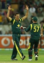 Clint McKay and Brad Haddin celebrate a dismissal
