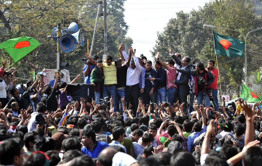 Some of Bangladesh's top cricketers attended a protest rally in Dhaka