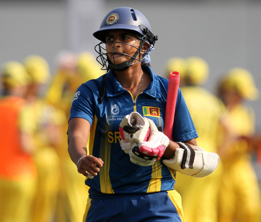 Sri Lanka's captain Shashikala Siriwardene walks off