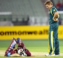 James Faulkner looks down on Devon Thomas after running him out, Australia v West Indies, 5th ODI, Melbourne, February 10, 2013