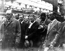 Lord Harris (left) greets Jack Hobbs (right) and the rest of the England players after they returned home having retained the Ashes in Australia, Dover, April 1, 1929