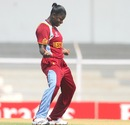 Tremayne Smartt breaks into a dance after picking up a wicket, New Zealand v West Indies, Super Six match, Women's World Cup 2013, Mumbai,  February 11, 2013