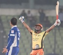 Mohammad Ashraful exults after Dhaka Gladiators' six-wicket win, Dhaka Gladiators v Khulna Royal Bengals, BPL, Mirpur, February 11, 2013