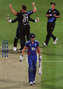Alex Hales was bowled by Mitchell McClenaghan in the second over, New Zealand v England, 2nd T20, Hamilton, February 12, 2013