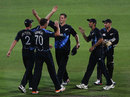 New Zealand players celebrate their 55-run win, New Zealand v England, 2nd T20, Hamilton, February 12, 2013