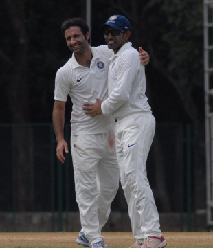 Parvez Rasool celebrates a wicket, Indian Board President's XI v Australians, tour match, Guru Nanak College Ground, Chennai, February 12, 2013