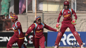West Indies players react after defeating Australia to reach their first World Cup final