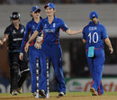 Charlotte Edwards congratulates Holly Colvin after England's win