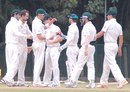 The Australians celebrate a wicket, Indian Board President's XI v Australians, 2nd day, Chennai, February 13, 2013