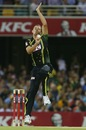 Josh Hazlewood delivers, Australia v West Indies, only T20I, Brisbane, February 13, 2012
