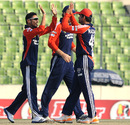 Rangpur Riders celebrate a wicket, Barisal Burners v Rangpur Riders, Bangladesh Premier League 2012-13, Mirpur, February 14, 2013