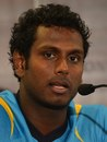 Angelo Mathews speaks to reporters