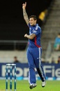 Jade Dernbach celebrates one of his three wickets