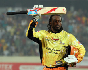 Chris Gayle's hurricane 114 led Dhaka to their second BPL final, Dhaka Gladiators v Sylhet Royals, BPL, Mirpur, February 15, 2013