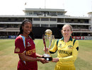Merissa Aguilleira and Jodie Fields with the Women's World Cup on the eve of the final, Mumbai, February 16, 2013