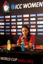 Merissa Aguilleira addresses the media ahead of the World Cup final, Mumbai, February 16, 2013