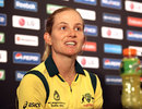 Jodie Fields talks to the press ahead of the World Cup final, Mumbai, February 16, 2013