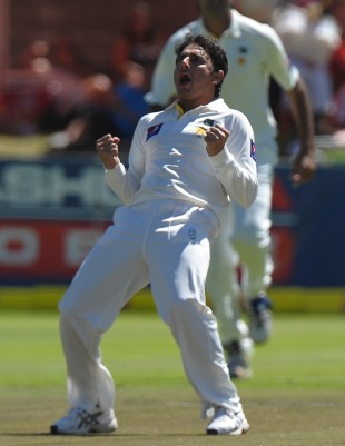 Saeed Ajmal celebrates the wicket of Dean Elgar, South Africa v Pakistan, 2nd Test, Cape Town, 3rd day, February 16, 2013