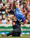 Jonathan Trott gets taken out by Nathan McCullum, New Zealand v England, 1st ODI, Hamilton, February 17, 2013