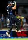 Martin Guptill celebrates the winning runs, New Zealand v England, 1st ODI, Hamilton, February 17, 2013