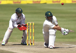 Misbah-ul-Haq's dismissal, top-edging Robin Petersen to short fine leg, led to a Pakistan collapse