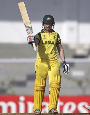 Jess Cameron raises her bat after scoring a fifty, Australia v West Indies, Final, Women's World Cup 2013, Mumbai, February 17, 2013